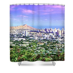 Diamond Head Skyline Shower Curtain
