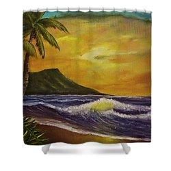 Diamond Head Sunrise Oahu #414 Shower Curtain by Donald k Hall