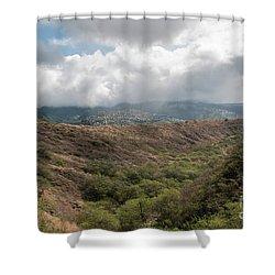 Diamond Head View Shower Curtain