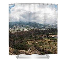 Diamond Head View Panoramic Shower Curtain