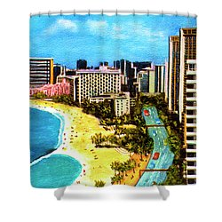Diamond Head Waikiki Beach Kalakaua Avenue #94 Shower Curtain by Donald k Hall