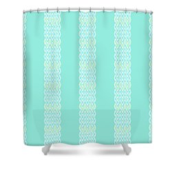 Diamond Rain Teal Stripes Shower Curtain