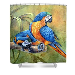 Shower Curtain featuring the painting Did You See That by Mary McCullah