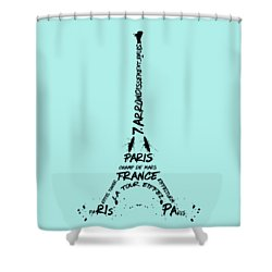 Digital-art Eiffel Tower Shower Curtain by Melanie Viola