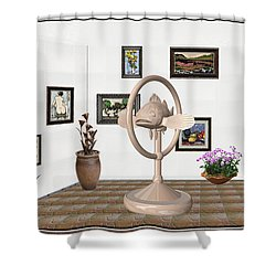 digital exhibartition _ Statue of fish 3 Shower Curtain