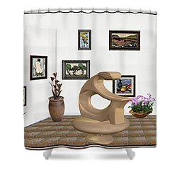 Shower Curtain featuring the mixed media digital exhibitartion _Statue of  girl by Pemaro