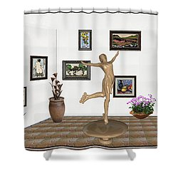 Shower Curtain featuring the mixed media digital exhibition _ A sculpture of a dancing girl 11 by Pemaro