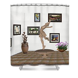 digital exhibition _ A sculpture of a dancing girl 14 Shower Curtain by Pemaro