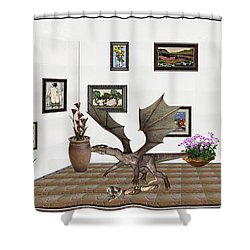 Shower Curtain featuring the mixed media digital exhibition _ Dragon and snake by Pemaro