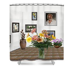 Digital Exhibition _ Flowers In A Vase Shower Curtain