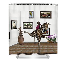 Shower Curtain featuring the mixed media digital exhibition _ It climbed up giraffe by Pemaro