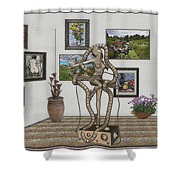 Shower Curtain featuring the mixed media Digital Exhibition _ Modern  Statue 1   Of Dancing Girl by Pemaro