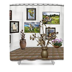 Shower Curtain featuring the mixed media digital exhibition _ Modern Statue of Modern statue of branches by Pemaro