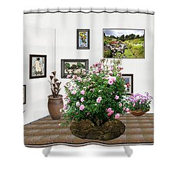Shower Curtain featuring the mixed media Digital Exhibition _ Roses Blossom 22 by Pemaro