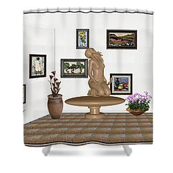 Shower Curtain featuring the mixed media digital exhibition _ Sculpture 8 of girl  by Pemaro