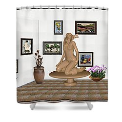 Shower Curtain featuring the mixed media digital exhibition _ Sculpture 9 of girl  by Pemaro