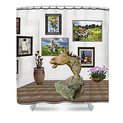 Shower Curtain featuring the mixed media Digital Exhibition _  Sculpture Of A Horse by Pemaro