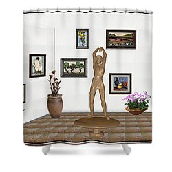 digital exhibition _ Statue of a Statue 23 of posing lady  Shower Curtain
