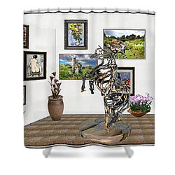 Digital Exhibition _ Statue Of Branches Shower Curtain by Pemaro