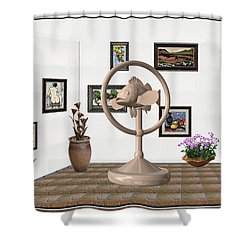 digital exhibition _ Statue of fish 2 Shower Curtain