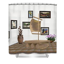 Shower Curtain featuring the mixed media digital exhibition _ Statue raft with sails 4 by Pemaro