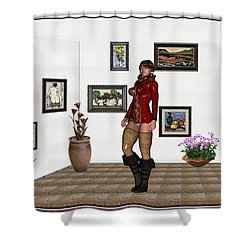 digital exhibition 32  posing  Girl 31  Shower Curtain by Pemaro