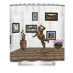 digital exhibition  Statue 24 of posing lady  Shower Curtain