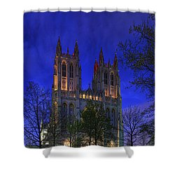 Digital Liquid - Washington National Cathedral After Sunset Shower Curtain