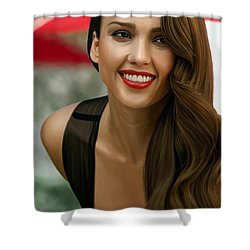 Digital Painting Of Jessica Alba Shower Curtain by Frohlich Regian
