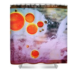 Shower Curtain featuring the photograph Digital Virus Orange One Bubbles by John Williams
