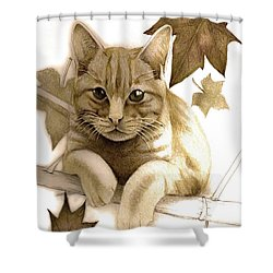 Digitally Enhanced Cat Image Shower Curtain