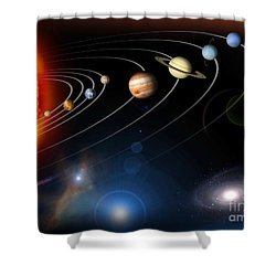 Shower Curtain featuring the digital art Digitally Generated Image Of Our Solar by Stocktrek Images