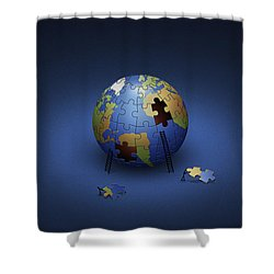 Digitally Generated Image Of The Earth Shower Curtain by Vlad Gerasimov