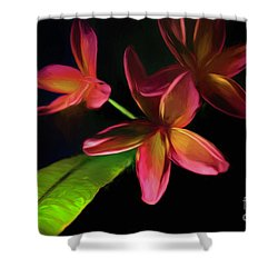 Digitized Sunset Plumerias #2 Shower Curtain