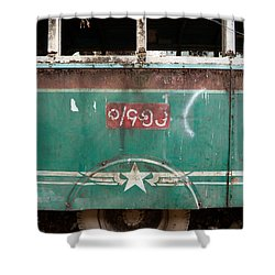 Dilapidated Vintage Green Bus In Burma - Side View With Tire Shower Curtain