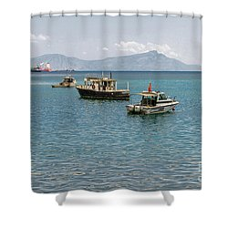 Shower Curtain featuring the photograph Dili Harbour 01 by Werner Padarin