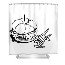 Diner Drawing Charbroiled Chicken 1 Shower Curtain by Chad Glass