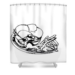 Diner Drawing Charbroiled Chicken 2 Shower Curtain by Chad Glass