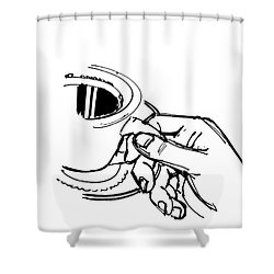 Diner Drawing Coffee In Hand Shower Curtain by Chad Glass