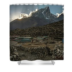Shower Curtain featuring the photograph Dingboche Evening Sunrays by Mike Reid
