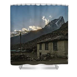 Shower Curtain featuring the photograph Dingboche Nepal Sunrays by Mike Reid