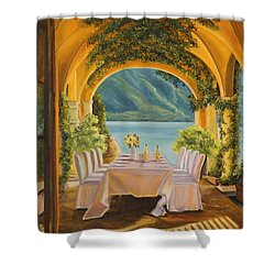Dining On Lake Como Shower Curtain by Charlotte Blanchard