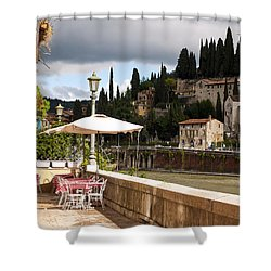 Dining With A View Shower Curtain by Rae Tucker