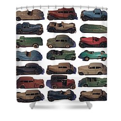Dinky Car Park Shower Curtain by John Colley