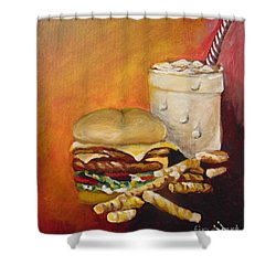 Shower Curtain featuring the painting Dinner Time by Saundra Johnson