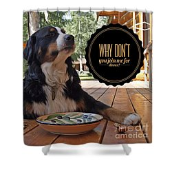 Shower Curtain featuring the digital art Dinner With My Dog by Kathy Tarochione