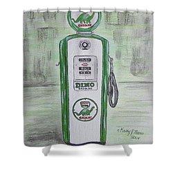 Dino Sinclair Gas Pump Shower Curtain