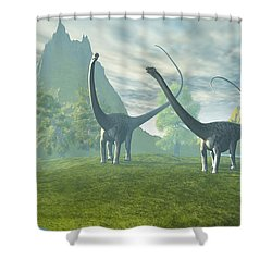 Dinosaur Land Shower Curtain by Corey Ford