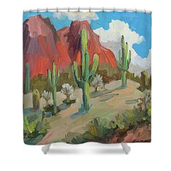 Shower Curtain featuring the painting Dinosaur Mountain by Diane McClary