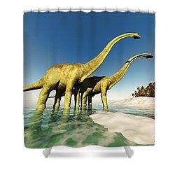 Dinosaur World Shower Curtain by Corey Ford